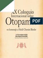 Programa General del XX Coloquio Internacional sobre Otopames