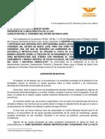 Exhorto Creación IMEPLAN DCNL 091018