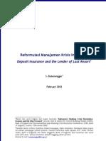 Batunanggar, Reformulasi Manajemen Krisis Indonesia - Deposit Insurance and the Lender of Last Resort