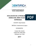 Evaluación de la problemática hídrica en el dren colector Esperanza - Barranca