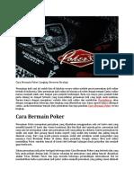 Cara Bermain Poker Lengkap Berserta Strategi