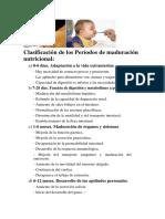 Clasificación de Los Períodos de Maduración Nutricional