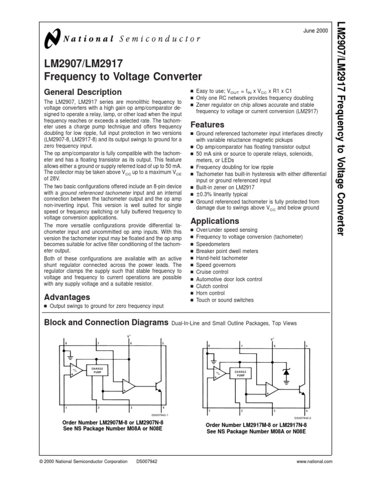 Lm2907 Operational Amplifier Tachometer Circuit With Single Transistor