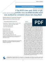 Encapsulation of Zn-DTPA into poly lactic-co-glycolic acid nanoparticles via a modified double emulsion method for extended release into lung fluid