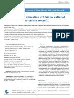 Genome Size Estimation of Chinese Cultured Artemisia Annua l