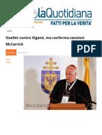 Ouellet Contro Vigano, Ma Conferma Sanzioni Mccarrick