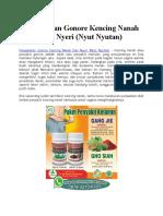 Pengobatan Gonore Kencing Nanah Dan Nyeri (Nyut Nyutan)