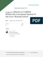 LogicalFallaciesasCodifiedWithintheConceptualSystemoftheLvov-WarsawSchool