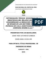 TESIS OPTIMIZACIÓN TÉCNICO ECONÓMICO DE LA RESISTENCIA DEL RELLENO CEMENTADO CONSIDERANDO LA REDU.pdf