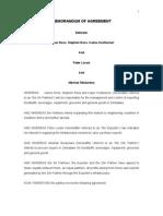 Memorandum of Agreement - Meshak