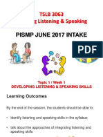 Topic 1 Developing Listening and Speaking Skills