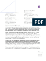 Apple Letter to Congress about Bloomberg iCloud spy chips