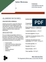 Alambre Nicromel Especificaciones Tecnicas