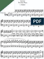 Stravinsky Piano 5 Easy Pieces (4 Manos)