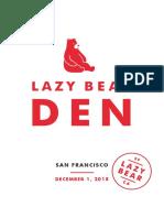 Lazy Bear Den Sample Menu 2018