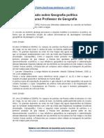 Simulado Sobre Geografia Política Concurso Professor de Geografia