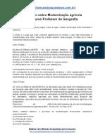 Simulado Sobre Modernização Agrícola Concurso Professor de Geografia