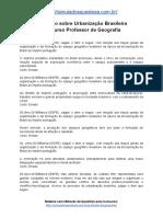 Simulado Sobre Urbanização Brasileira Concurso Professor de Geografia