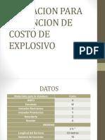Operacion Para Obtencion de Costo de Explosivo