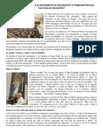 El Papa Francisco Invita Al Movimiento de Schoenstatt a Trabajar Por Una