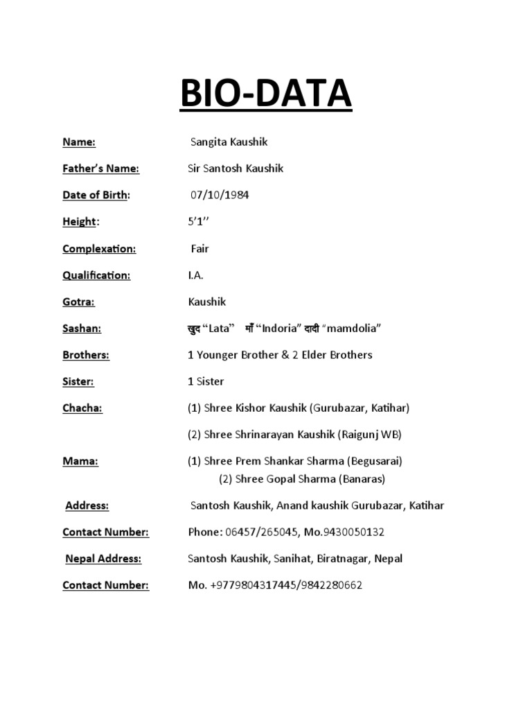 ... template website bio data for resume sample resume or bio data a