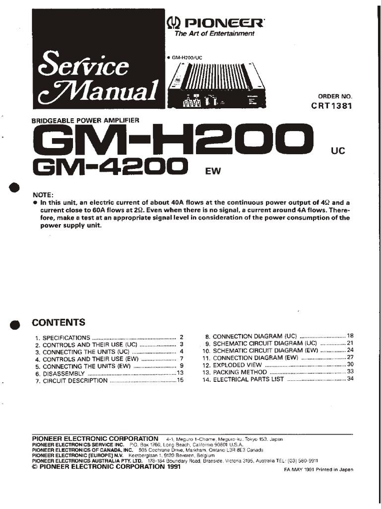 pioneer gm 4200 servicemanual pdf power supply computer gm power supply circuit  diagram