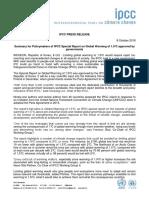IPCC Intergovernmental Panel on climate chance 2018