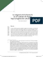 La Exigencia de La Buena Fe en El Contrato de Seguro Bajo La Legislación Salvadoreña