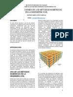 Uso de Los Métodos Numéricos en La Ingeniería Civil