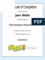 fitness assessment in physcial education certificate -jason weitzel