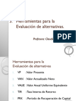 3.1 Evaluación de Alternativas (VP-VAN-VAUE)