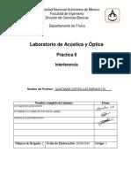 Práctica 9 Acústica y óptica - Interferencia