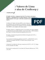 Bolsa de Valores de Lima Sube Por Alza de Credicorp y Alicorp