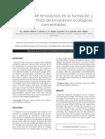 Influencia Del Tensoactivo en La Formación y Estabilidad Física de Emulsiones Ecológicas Concentradas