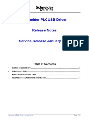 Schneider PLCUSB Driver - Release Notes | Windows 10 | Microsoft Windows