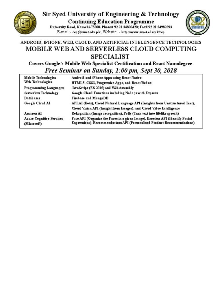 Cloud Mobile 2018 SSUET | Application Software | Java Script