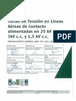 Cortes de Tensión en LAC Alimentadas en 25kV c.a., 3kV c.c. y 1,5kv c.c.. ADIF-PG-402-001-13-SC. 01-2017. Rev. 0 Si