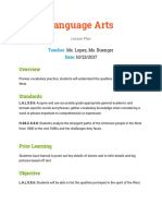 language arts lesson plan  music class