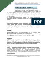 02. Especificaciones Técnicas - Putina