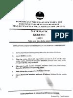 Peperiksaan Percubaan SPM Matematik 2018 Kedah