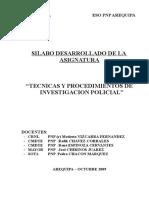 SILABO DESARROLADO TECNICAS Y PROCEDIMIENTOS DE INVESTIGACION POLICIAL.doc