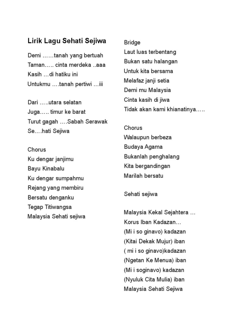 Lirik Lagu Sehati Sejiwa Aku Negara Ku