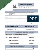 JSA Safety Valve Certivication