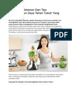 Makanan Dan Tips Meningkatkan Daya Tahan Tubuh Yang Benar