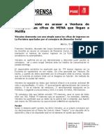 El PSOE insiste en acusar a Ventura de manipular las cifras de MENA que llegan a Melilla