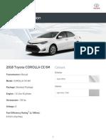 Toyota Build and Price 2018 COROLLA CE 6M