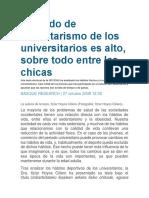 El Grado de Sedentarismo de Los Universitarios Es Alto, Sobre Todo Entre Las Chicas