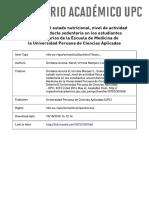 Evaluación del estado nutricional, nivel de actividad física y conducta sedentaria en los estudiantes universitarios de la Escuela de Medicina de la Universidad Peruana de Ciencias Aplicadas