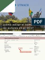 ¿Cómo editar el nombre de los autores en el OCS?