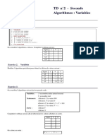 Td Seconde Algorithmes Variables Affichage Td2